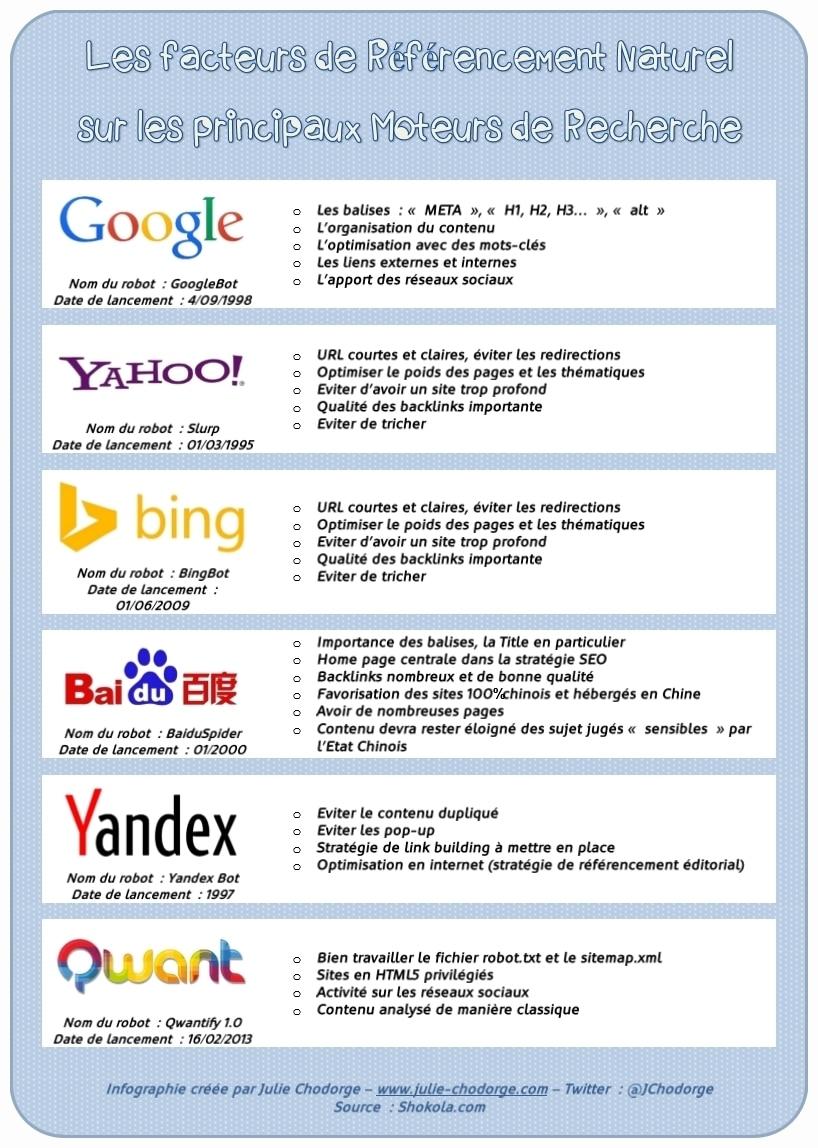 Infographie : Les différences de référencement entre les moteurs de recherche